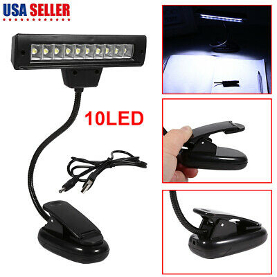 Portable USB 10 LED Goose Neck Clip On Bedroom Desk Lamp Table Read Book Light
