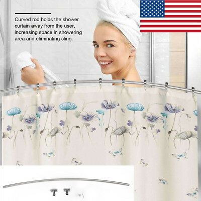 """Stainless Steel Curved Shower Curtain Rod Wall Mounted Adjustable 56""""- 85"""" US"""