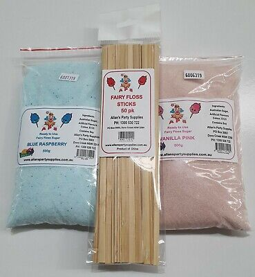 2 x 500g Bags Fairy Floss Sugar, Assorted Flavours, RTU, With 50 Sticks