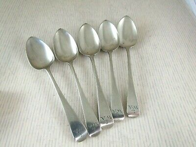 Antique Solid Silver  5 OLD ENGLISH TEA SPOONS  Hallmarked:-London 1824