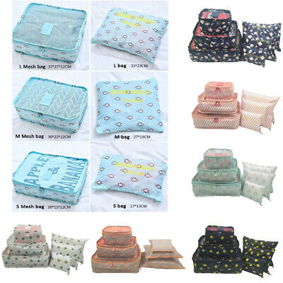 Waterproof Clothes Storage Bags Packing  Travel Luggage Organizer Pouch 6PCS