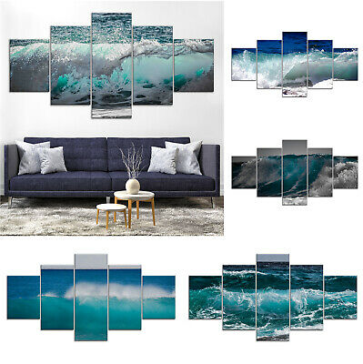 Ocean Wave Surf Canvas Print Painting Framed Home Decor Wall Art Gg Poster 5Pcs