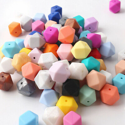 100Pcs Hexagon Silicone Teething Bead DIY Chewable Necklace Jewelry Teether 14mm