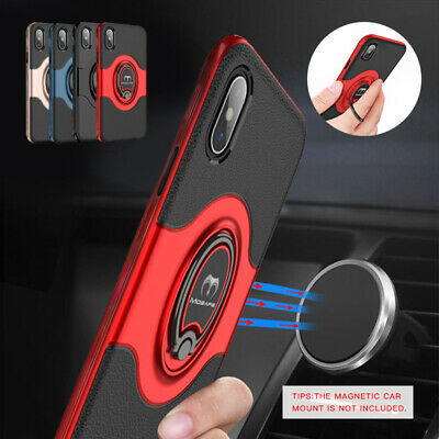 For iPhone X XR XS Max Hybrid Rugged Shockproof Case with Magnetic Ring Holder