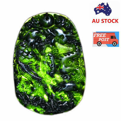 Natural Black Green Jade Chinese Carved Dragon Phoenix Necklace Pendant Gift
