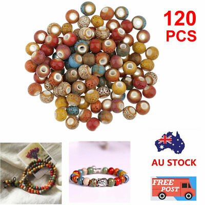 120pcs Vintage Loose Ceramic Porcelain Beads Charms for Jewelry Making 6mm