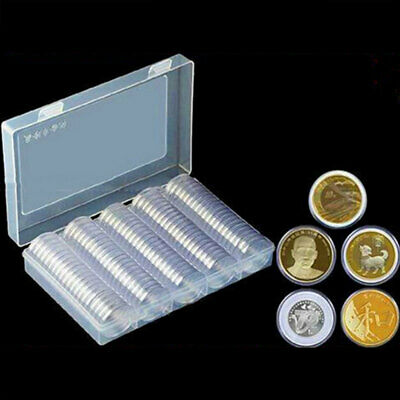 100pcs 33mm Coin Storage Box Clear Plastic Round Display Case Album Capsules