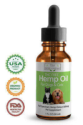 Hemp Oil for Dogs n Cats - 500mg - USA Made - Stress Anxiety Pain Relief - 1oz