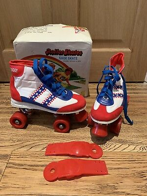 VINTAGE RETRO (USA) Red White & Blue Roller Skates Size 36 (uk3) Boxed In VGC