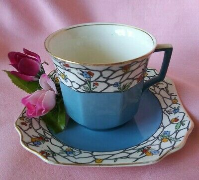 Vintage Cevon Ware Fieldings Turquoise Tea Cup & Saucer Numbered England