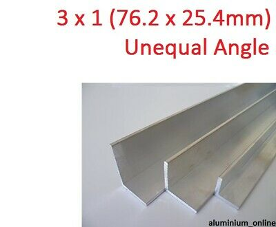 ALUMINIUM UNEQUAL ANGLE 3 x 1, 2 thickness, lengths 100mm to 2.500mm