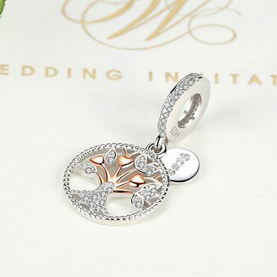 AUTHENTIC PANDORA CHARM BEAD 925 STERLING Rose Gold Family Tree Silver Dangle