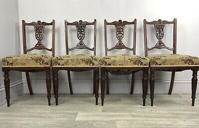 Set Of 4 Antique Carved Dining Chairs MA39
