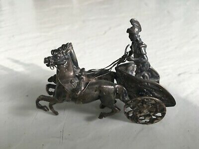 Vintage Silver Heavy Chariot Miniature, Stamped BM, with number