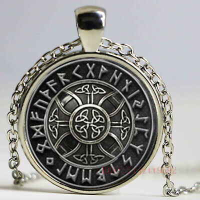 1pcs Norse Viking Cross in Rune Circle pendant jewelry Glass Cabochon Necklace