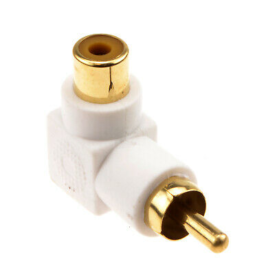 Right Angled RCA Phono Adapter White Audio Plug Socket
