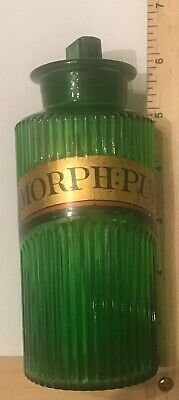 Antique Apothecary Jar MORPH:PUR Green Glass Poison Pharmacy Drug Morphine AS