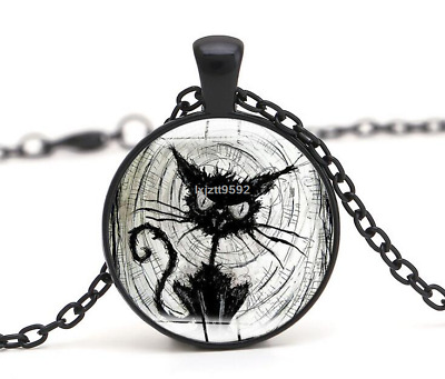 Halloween Flying Witch Cat Owl Cabochon Black Glass Pendant Necklace Jewelry#254