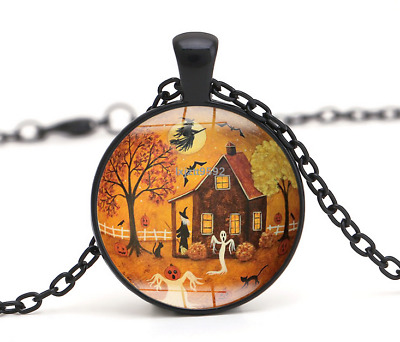 Halloween Flying Witch Cat Owl Cabochon Black Glass Pendant Necklace Jewelry#250