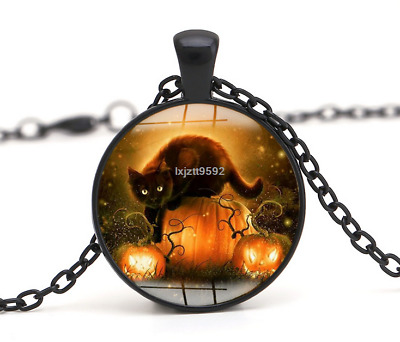 Halloween Flying Witch Cat Owl Cabochon Black Glass Pendant Necklace Jewelry#249