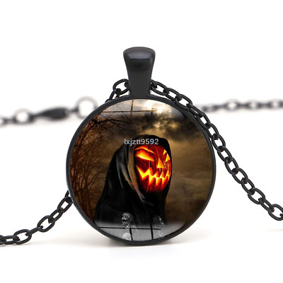 Halloween Flying Witch Cat Owl Cabochon Black Glass Pendant Necklace Jewelry#241