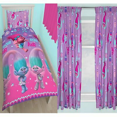"Trolls Glow Single Duvet Cover Set Rotary + Matching 72"" Curtains New Official"