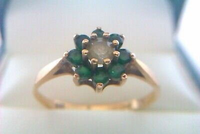 Beautiful Vintage 9ct Gold White Gemstone & Emerald Ladies Flower Ring 1977