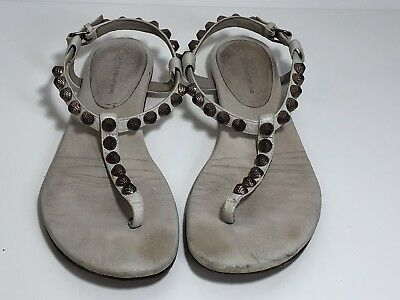 d93f3569a2c Balenciaga Arena Giant White 6 36 leather studded T Strap thong sandal shoe   495