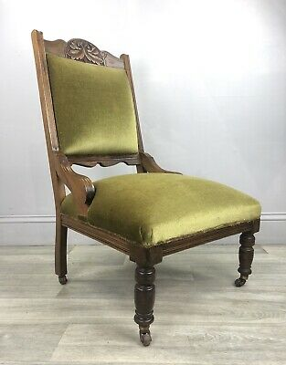 Antique Fireside Chair, Victorian Low Chair -Upholstry Project MA43