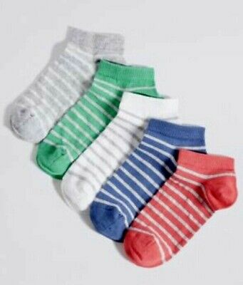 5 Pairs Girls Trainer Liner Socks Age 11+Years 4-7 New M&S Cotton Rich Freshfeet