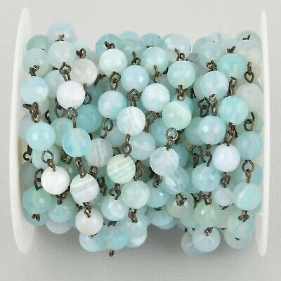 1 yard 8mm Robins Egg BLUE AGATE Rosary Chain, bronze wire, fch1085a