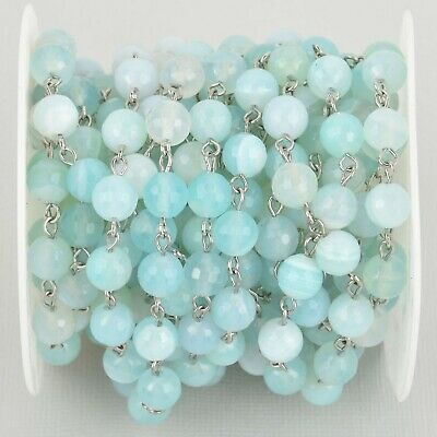 1 yard 8mm Robins Egg BLUE AGATE Rosary Chain, silver wire, fch1084a