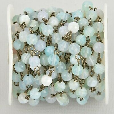 1 yard 6mm Robins Egg BLUE AGATE Rosary Chain, bronze wire, fch1086a