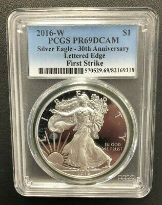 2016-W American Silver Eagle Proof PCGS PR69DCAM Lettered Edge First Strike