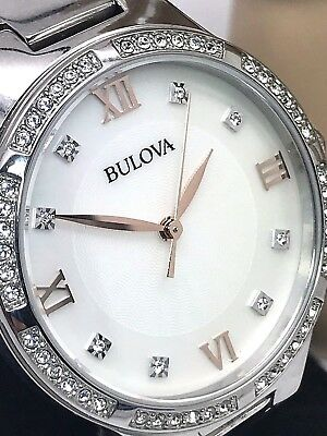 Bulova Women's Crystals Mother of Pearl Dial Silver Stainless Steel Watch 96L264