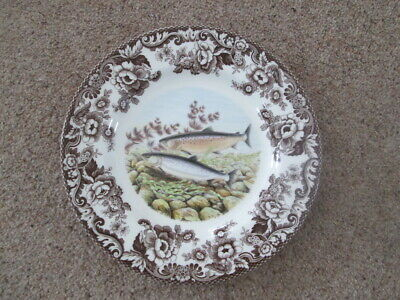 """Spode Woodland Pacific Salmon Fish Large Dinner Plate 10.5"""" Wide  New"""