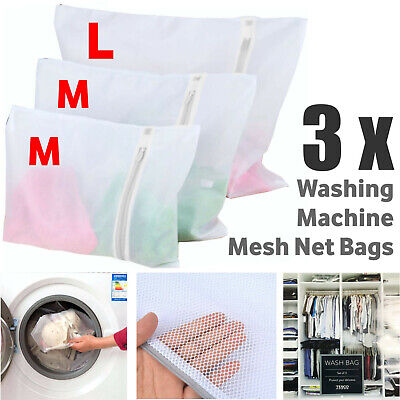 3x Zipped Wash Bags Laundry Mesh Net Bra Sock Underwear Washing Machine MM Large