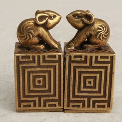 Chinese Bronze Hand Carving Rabbit Statue Seal Collection Decoration