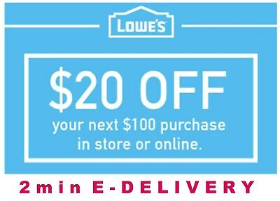 THREE [3x] Lowes $20 OFF $100 Coupons Discount - In store&online - Fast Shipment