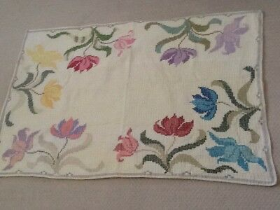 """Vintage Hand Embroidered Cross Stitch TableCloth/Chair Throw Floral Multi 27x40"""""""