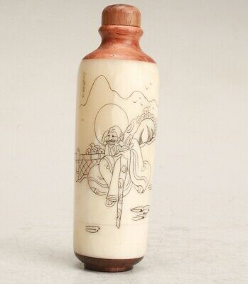Chinese Cattle Bone Handmade Painting Landscape Snuff Bottle Collection Gift