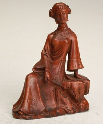 Chinese Boxwood Handmade Carving Lady Statue Collection Decoration