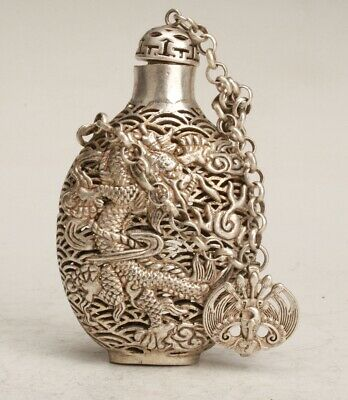 Chinese Tibetan Silver Handmade Carving Dragon Snuff Bottle Collection Gift
