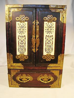 """Antique Rosewood Brass & I vry Jewelry Box 12""""h c. early 20th century"""