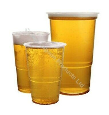Clear Marked Strong Plastic Pint Half 1/2 Disposable Beer Glasses Cups Tumblers