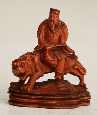 Chinese Boxwood Handmade Carving Old Man Tiger Statue Collection Gift Decoration