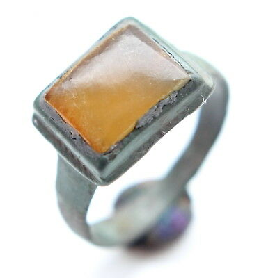 Ancient Medieval Bronze Finger Ring With Amber Inlay (MAY)