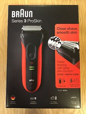 Braun Series 3 ProSkin 3030s Electric Rechargeable Shaver Trimmer for Men