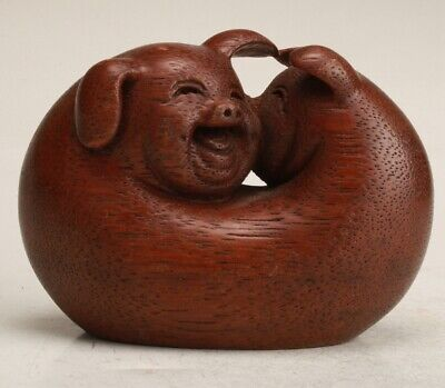 Chinese Boxwood Hand Carving Pig Statue Decoration Collection Gift