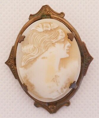 Estate Cameo Brooch Pin Vintage Hand Carved Woman Antique